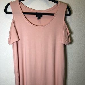 M Collection Baby Pink Cold Shoulder Women's Top S